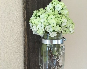 Mason Jar Wall Decor, Mason Jar Wall Vase, Mason Jar Storage, Mason Jar Vase, Wall Candle Holder, Wall Flower Jar, Rustic Mason Jar Vase
