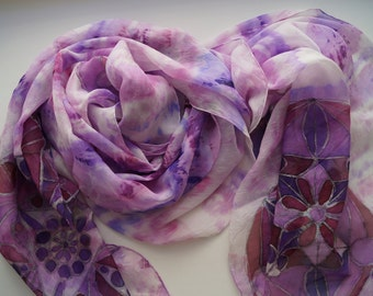 Large Hand Painted Silk Scarf, Handpainted Silk Scarf, Hand Painted Silk Shawl, Lilac Burgundy Silk Scarf, Hand Dyed Silk Scarf, Unique Gift