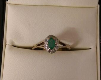 9ct Yellow Gold Diamond & Emerald Ring Size N