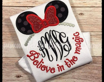 Miss Mouse Believe in the Magic Applique Shirt, Minnie Mouse Inspired Monogrammed Shirt, Girl's Minnie Inspired Shirt