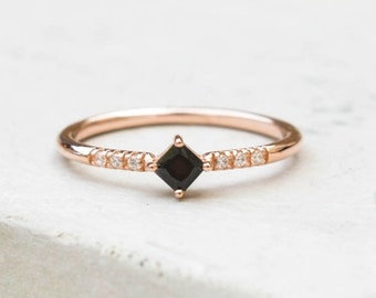 Feminine, Dainty prong Princess Cut thin eternity Stacking Ring- ROSE GOLD/Black Stone- fashion ring, promise ring, wedding engagement ring
