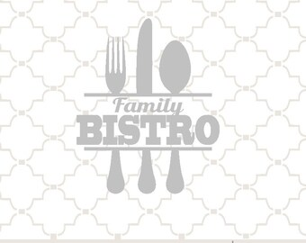 SVG Family Bistro with knife, fork, spoon / EPS PNG