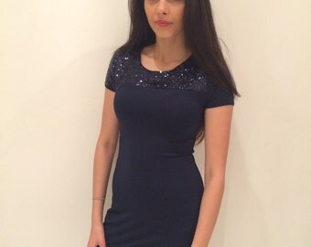 Blue Bodycon Dress with Sequins 8-16