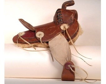 Vintage Tooled Leather Mini Horse Saddle