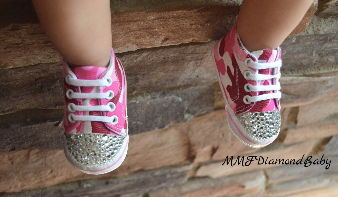 pink rhinestone baby shoes pink camo baby by mmfdiamondbaby
