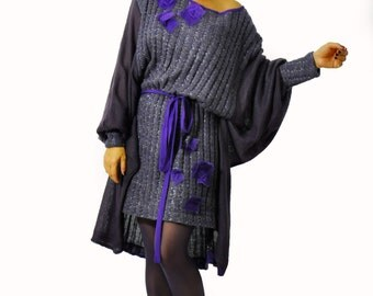 Dark violet gray wool mohiar tunic/Maxi winter dress tunic/Oversize loose tunic/loose dress/Raglan sleeves/Casual woman tunic/D1218