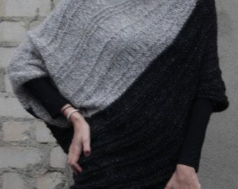 Wool sweater, Hand knitted sweaters women's, Women's knitted sweater, oversized sweater, Black gray colors sweater, Hand knitted sweater