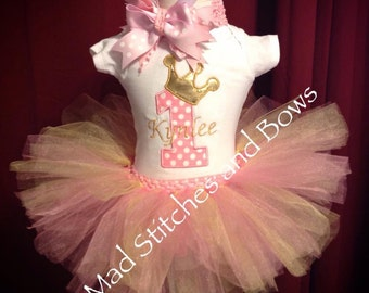 Number crown /first birthday custom embroidered tutu outfit with bow / first or second birthday shirt