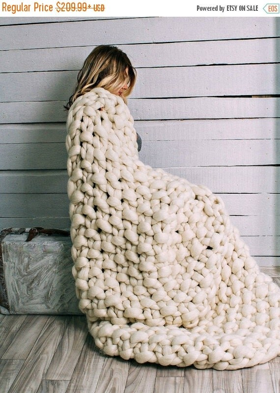 big sale chunky knit blanket super chunky knit by jennysknitco. Black Bedroom Furniture Sets. Home Design Ideas
