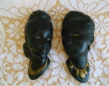 Black Afro American Chalkware Heads Pair of Beautiful Mid Century Black Women Wall Plaques Wall Art Retro Vintage Home Decor Black Americana