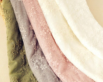 Flower Lace Fabric Embroidered Colorful Floral Lace Wedding Bridal Lace Fabric Dress Gauze Tulle L62 ( 1 yard)