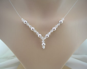 Pearl and Crystal Drop Necklace - Silver Plated - Choose Colour and Size