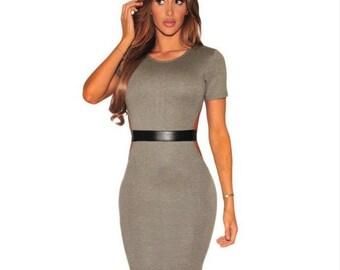 Faux Leather Strap Cut Out Dress