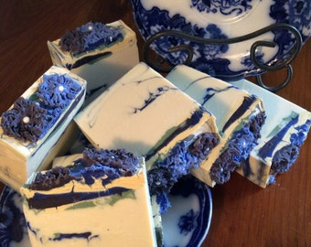 CEDAR BLOSSOM SOAP...Bachelor's Buttons with A Woodsy Spicey Scent , Moisturizing Soap with Olive Oil, Avocado Oil, and Shea Butter