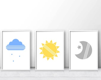 Set Of 3 Nursery Prints, Modern Nursery Print, Baby Wall Art Prints, Cloud Nursery Printables, Baby Art Print, Sunshine, Star, Moon Nursery