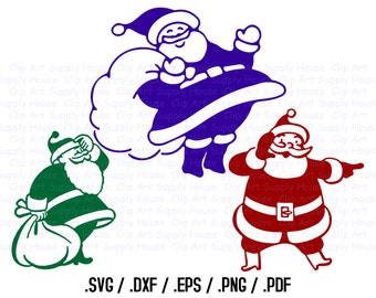 Santa Claus Clipart, Winter Christmas Wall Art, Santa SVG File for Vinyl Cutters, Screen Printing, Silhouette, Die Ct Machines - CA326