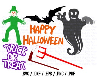 Happy Halloween Clipart, Halloween SVG File, Ghost, Bat, Scarecrow SVG, Vinyl Cutters, Screen Printing, Silhouette, Die Cut Machine - CA345