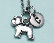 Bichon frise necklace, bichon frise charm, animal necklace, personalized necklace, initial necklace, initial charm, monogram