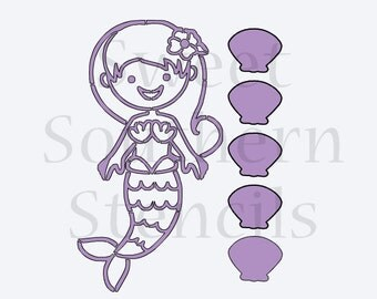 PYO Mermaid Cookie Stencil (3 different orientation options to choose from)
