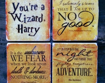 Golden Harry Potter Quotes Coasters or Decor Accent