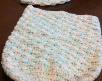 Baby cacoon with matching hat set, crochet baby set,  crochet baby cacoon with matching hat set