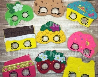Shopkins felt costume masks, party masks, party favors, made to order, party theme, pretend play