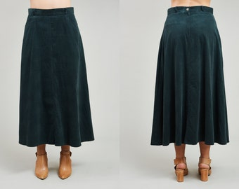1980s Notables Green Cotton Corduroy Flared Skirt • M