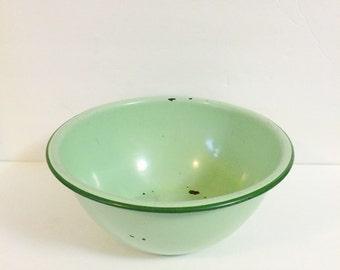 Large Mint Green Enamelware Bowl