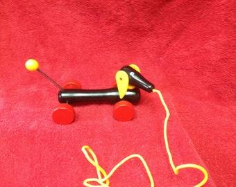 Brio Black Dachshund Pull Toy