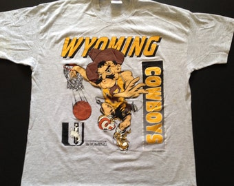 Wyoming Cowboys shirt, Wyoming basketball T-shirt , 1991 soft then retro University of Wyoming medium/large Wyoming Cowboys basketball shirt