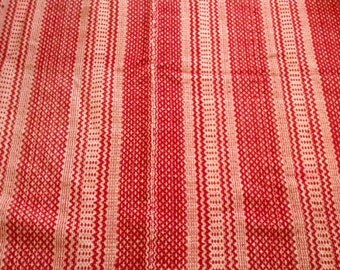 1800s Bright Red Wool Coverlet 78 x 55