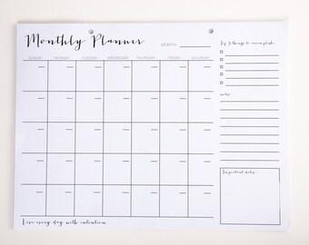 Monthly Planner, Calendar, 16 Page Calendar, White blank Calendar