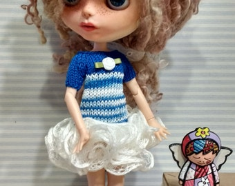 Blythe knitting dress blue and with style dancer