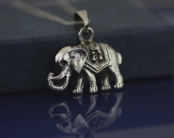 Sterling Silver Elephant Necklace, Silver Elephant Charm. Sterling Silver Good Luck Charm Necklace, Elephant Jewelry, Elephant Jewelry