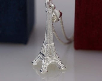 Sterling Silver Eiffel Tower Necklace, Silver Eiffel Tower Charm, Paris Necklace, France symbol,