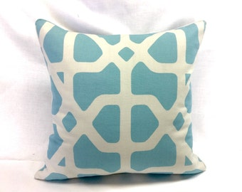 Decorative Throw Pillow Cover - Blue & Ivory - 18x18 - Couch / Accent Pillow