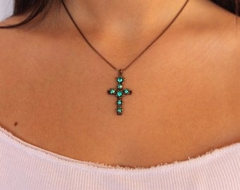 Cross Necklace Green Swarovski Crystals,Cross pendent,cross jewelry,faith jewelry,Brass\Bronze Necklace,cross necklace women