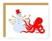 Octopus Christmas card - snowman - Merry Christmas happy holidays - funny Christmas card - holiday card - cute octopus - blank card