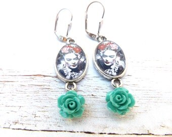 Frida Kahlo Teal  Flower Earrings / Dia de los Muertos