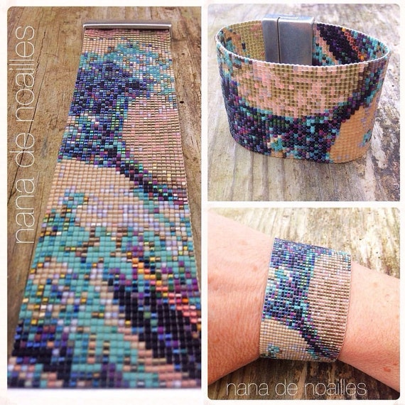 Cuff in beads, bracelet, beads rubbles miyuki, woven, chic bracelet, beautiful, luxury, wave, HOKUSAI, large, fashion, surf, beach, gift