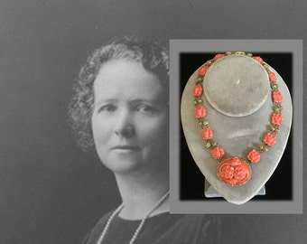 Elegant and Rare Antique Coral Colored Carved Celluloid Necklace, Art Nouveau Inspired