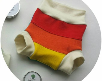 Custom Rainbow -Organic Merino Wool Interlock Nappy Cover - Wool Diaper Cover