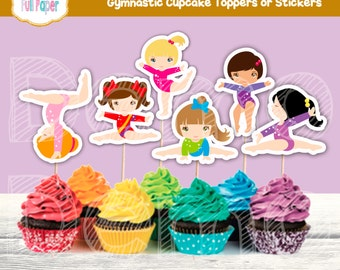Gymnastic Cupcake Toppers or Stickers-Gymnastic Party-Gymnastic Birthday-Gymnastic Toppers-Gymnastic Cupcake- Printable-Gymnastic Boys