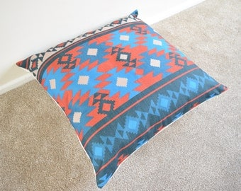 Red/Blue Kilim Aztec Tribal Printed Cotton Linen Cushion/Pillow Cover 26 x 26