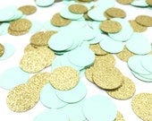 Mint Green & Gold Glitter Confetti | Circle Confetti | Bridal Shower | Table Decor | Wedding | Baby Shower | Small Confetti | Gold
