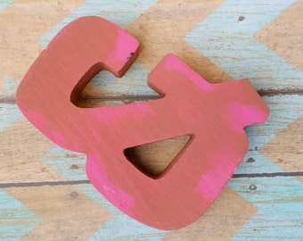 Pink Ampersand, Shelf Sitter, Book Shelf Decor, Gallery Wall Decor, Wood Ampersand, Small Ampersand, Typography Decor, Dusty Pink Decor