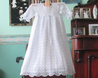 Handmade Lace Crochet Christening Gown