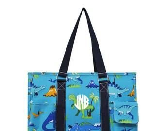 Monogrammable Dinosaur Pattern  Organizer Tote Dino Tote Diaper Bag