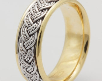 14K 8mm Rope Twist Hand Braided Two Tone Yellow & White  Gold Wedding Band, Braided Band, Comfort Fit,