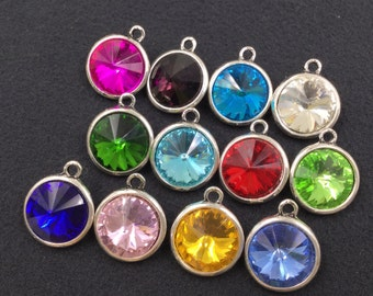 Glass Birthstone Round Tibetan Silver Charms / Pendant - You Pick